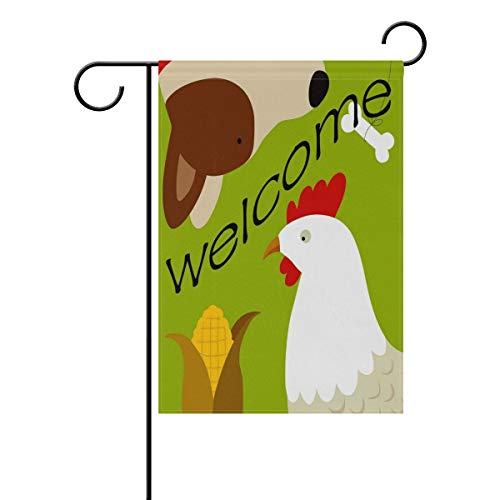 (HOOSUNFlagrbfa Country Farm Corn Chicken Rooster Dog Welcome Garden Flag 12 X 18 Inches, Double Sided Outdoor Yard Yall Garden Flag for Wedding Party House Home Decor)