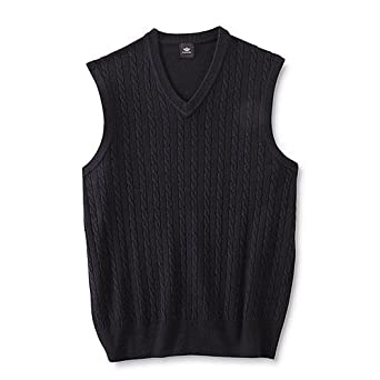 Amazon.com: Men's Cable Knit Sweater Vest (S, Navy): Clothing