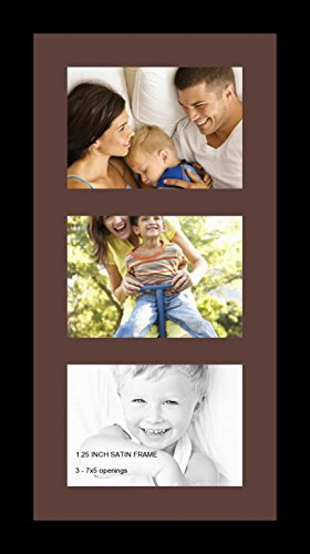 5 X 7 Single (ArtToFrames Collage Photo Frame Single Mat with 3 - 5x7 Openings and Satin Black Frame.)