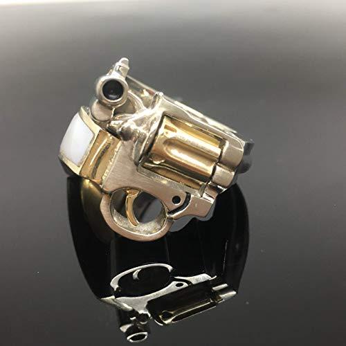 Gun Ring - 14K Two Tone Gold Men's Revolver Ring - Handmade 14K Gold Mother of Pearl Gun Ring - Men's Pistol Ring - Solid Gold Revolver Ring