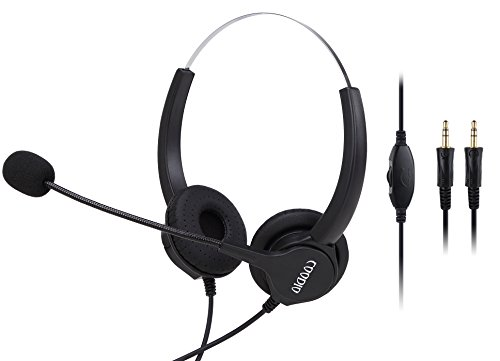 3.5mm PC VOIP Headset, Coodio 3.5mm Headphone [Volume Control] [Noise Cancelling] [Protein Earmuff] Binaural Headphone With Mic Microphone For PC Laptop Call Center Telephone Gaming Music - HS4 by Coodio