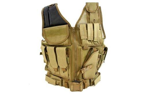 AMA Airsoft Cross-Draw Vest w/ Tac Belt - COYOTE TAN