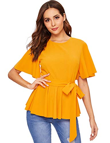 ROMWE Women's Slim Ruffle Short Sleeve Raw Hem Elegant Peplum Blouse Top with Belt Yellow M