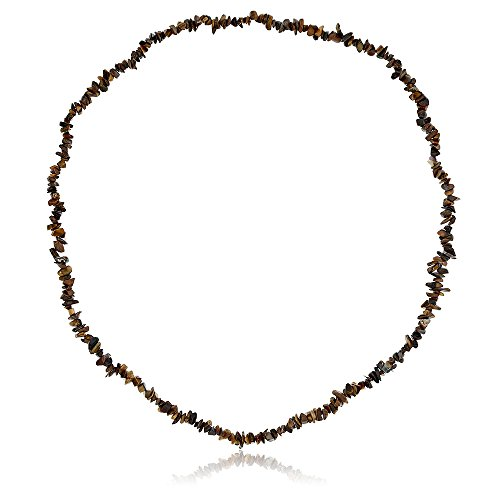 (Gem Stone King 278.00 Carat Simulated Tiger Eye Chip Necklace 36 Inch)