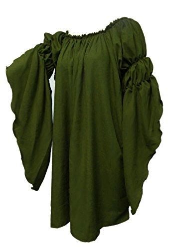 [Renaissance Medieval Peasant Dress Up Pirate Faire Celtic Blouse (Olive)] (Green Medieval Dress)