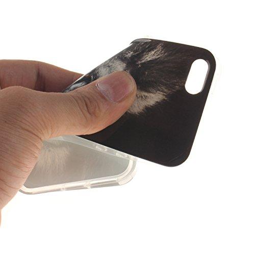 Custodia iPhone 5 5S SE , LH Leone Nero TPU Silicone Cristallo Morbido Case Cover Custodie per Apple iPhone 5 5S SE