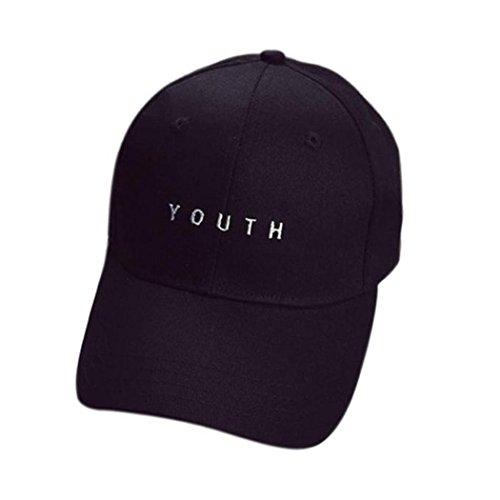 (SMTSMT Embroidery Cotton Baseball Cap Boys Girls Snapback Flat Hat (Black))