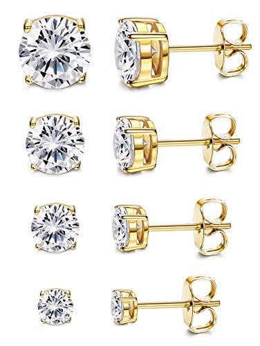Sllaiss 3-6MM Sterling Silver Cubic Zirconia Stud Earrings for Women Men Round Cut CZ Earrings Set Hypoallergenic (18K Gold Plated)