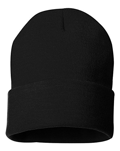 Acrylic Solid Knit Beanies (Sportsman 12' Solid Knit Beanie, Black, One Size)