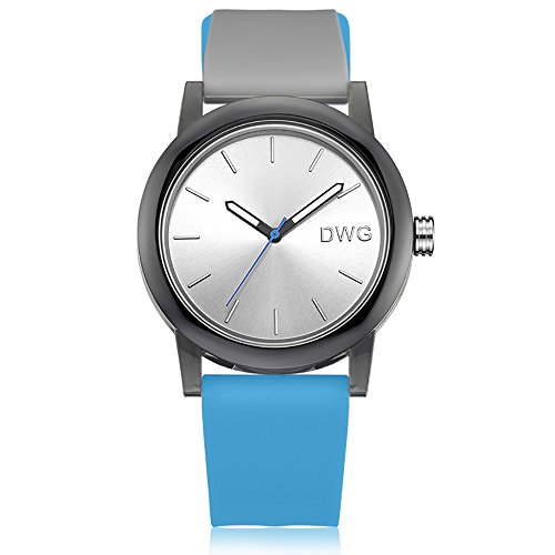 Silicone Quartz Watch Men Women Casual Analog Jelly Unisex Wrist Watch Simple Fashion Design Nice Colors Sport Watches (Light Blue Strap&White Dial) ()