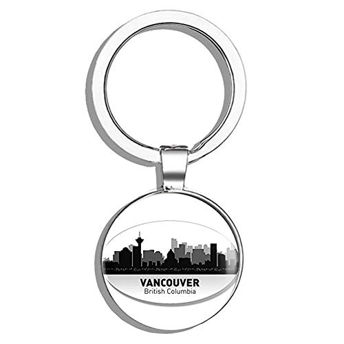 HJ Media Oval Vancouver Skyline (Canada City bc) Metal Round Metal Key Chain Keychain Ring