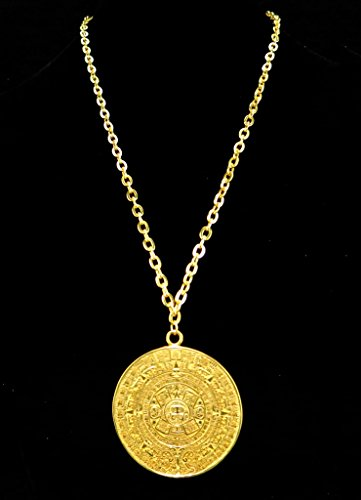 Amazon 24k gold plated 2 aztec calendar 47 mm thick 22 cable amazon 24k gold plated 2 aztec calendar 47 mm thick 22 cable chain necklace jewelry aloadofball Image collections