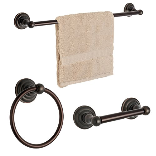 Dynasty Hardware 3800-ORB-3PC Palisades Series Bathroom Hardware Set, Oil Rubbed Bronze, 3-Piece Set, with 24