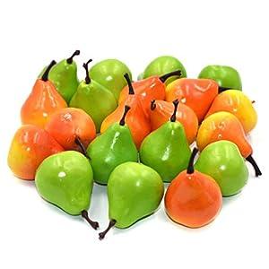 DLUcraft Artificial Pear Lifelike Simulation Fake Fruit Home Decoration (10 Orange +10 Green) 20 Pcs 102