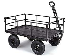 """Carros de gorila Heavy-duty acero carro de utilidad con extraíble lados y 13""""neumáticos con 1200lb capacidad, negro"""