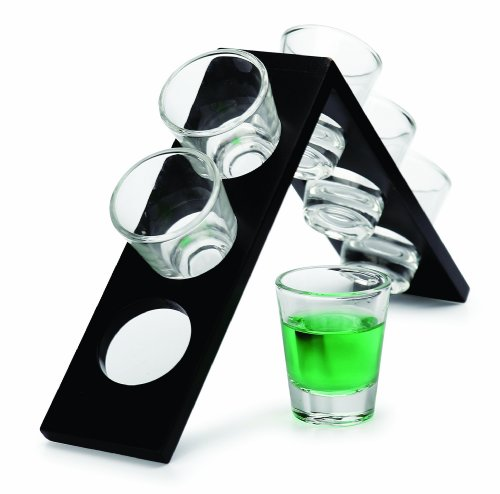 Circle Glass Edge 7 Piece Vodka Set With Wood Stand (6 Glasses And 1 Stand)