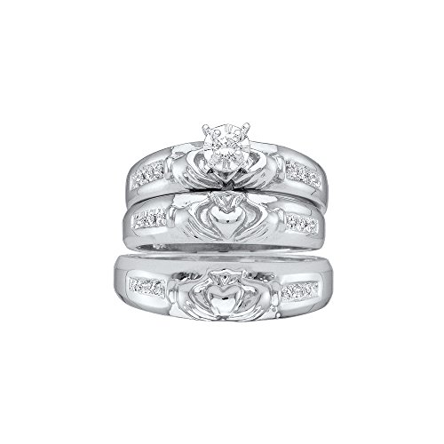 Sizes - L = 9, M = 10 - 14k White Gold Trio His & Hers Round Diamond Claddagh Matching Bridal Wedding Ring Band Set 1/8 Cttw