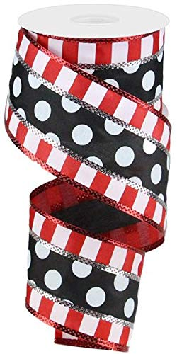 Polka Dots with Stripes Wired Edge Ribbon - 10 Yards (Black, White, Red, Silver, 2.5