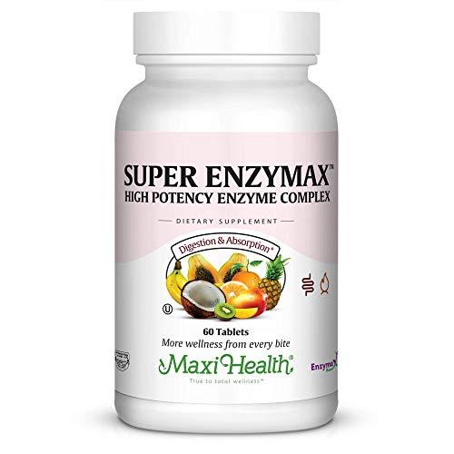 Maxi Health Super Enzymax – High Potency Enzyme Complex – Digestion Formula – 60 Tablets – Kosher
