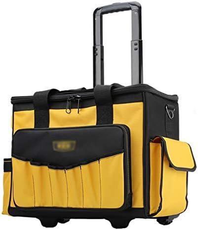ツールオーガナイザー 過酷な現場条件のためのオックスフォード布とPEパーティションポータブルローリングツールボックスツールオーガナイザー35個のポケットツールボックスストレージソリューション ポータブルツールボックス (Color : Yellow)