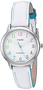 Timex Women's Easy Reader Analog Quartz Leather Strap, White, 13 Casual Watch (Model: TW2T28800JT)