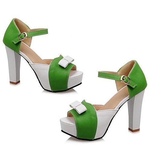 CoolCept Fashion Ladies Sweet Bowtie High Heel Sandals Platform Shoes Green DJAC3QwO