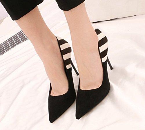 De Negro Los Superficial Boca Toda Con La Talones Zapatos Lady Ocio Sexy Moda MDRW Una 38 La Multa 35 Muelle 10Cm Color Elegante Trabajo Correspondencia Zapatos Punta Los 46fwfqgO