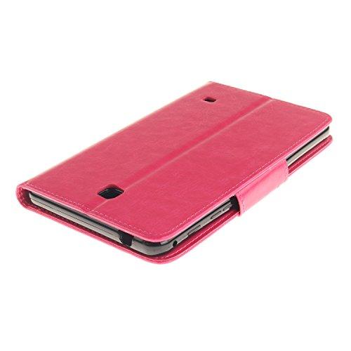 JIALUN-Personality teléfono shell Diente de león en relieve de flores patrón de color sólido cubierta de la caja del soporte del monedero para Samsung Tab 4 7.0 pulgadas T230 T231 Seguridad y Moda ( C Rose