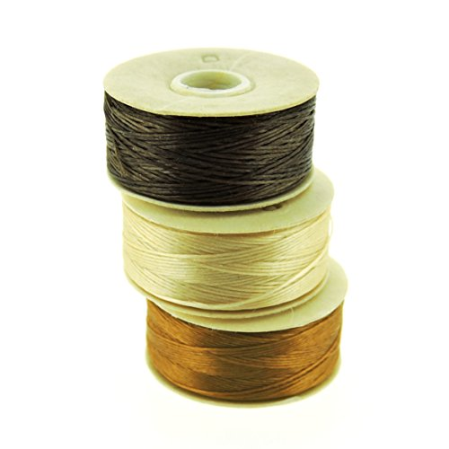 NYMO Nylon Beading Thread Size D for Delica Beads, 64 Yards per Bobbin, Brown, Champagne & Golden (Pack of 3 - Nymo Thread Bead Nylon