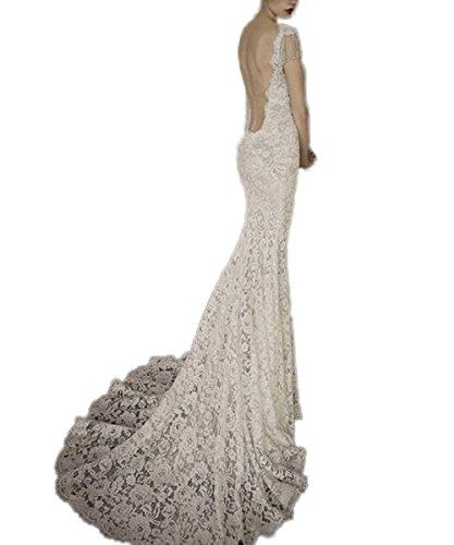 Brautkleider Rückenfrei Sexy Hülse 2017 CoCogirls Meerjungfrau Weiß Spitze V Brautkleid Ausschnitt Kappen Hochzeitskleid 1Pq8OZ