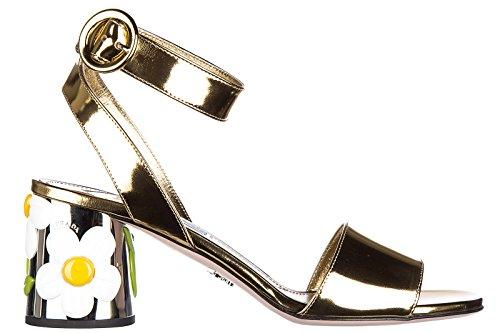 Prada sandalias de tacón mujer en piel nuevo lamina oro
