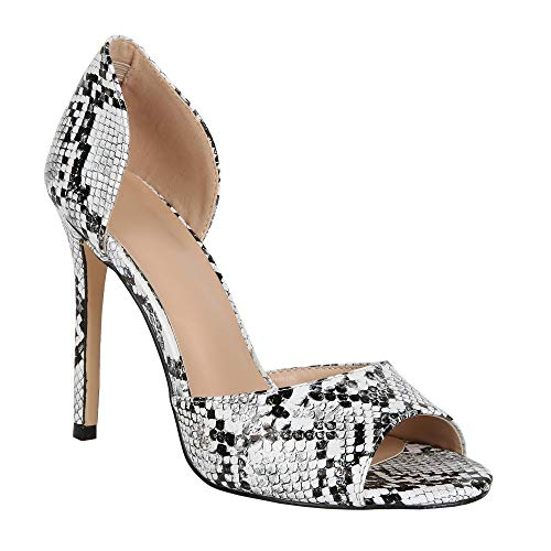 Peep Leopard Toe Pumps - Fashare Womens Peep Toe Leopard Pumps Shoes Stilettos High Heels Slip On D'Orsay Party Dress Shoes