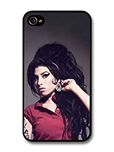 Amy Winehouse with Red T-Shirt Showing Earrings case for iPhone 4 4S hjbrhga1544