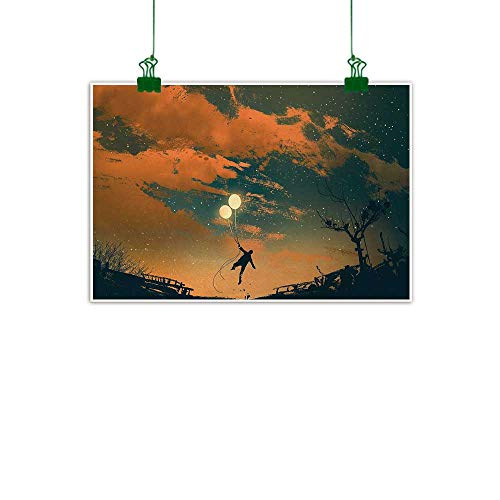 (Warm Family Fantasy Light Luxury American Oil Painting Flying Man with Balloons in Sky Starry Night Freedom Fun Theme Illustration Home and Everything 24