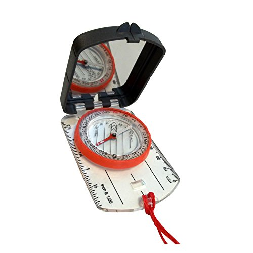 Alpine Mountain Gear Map Compass with Mirror, Black