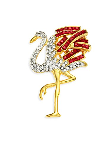 HamptonGems KENNETH JAY LANE, STORK PIN WITH RED AND CLEAR PAVE CRYSTAL ACCENTS ()