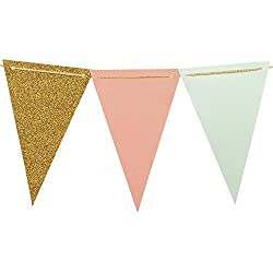 Ling's moment 10 Feet Vintage Style Pennant Banner, Paper Triangle Flags Bunting for Wedding, Baby Shower and Christmas Decorations, 15pcs Flags(Mint+Coral+Gold Glitter)
