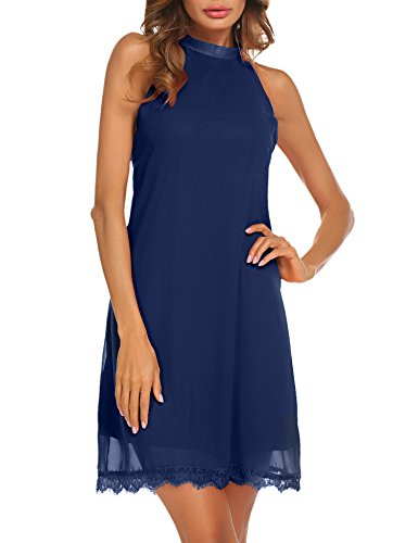 Sherosa Women's Summer Sleeveless Halter Nack Lace Hem Chiffon Dress (S, Navy Blue) (Shift Halter Sleeveless Dress)