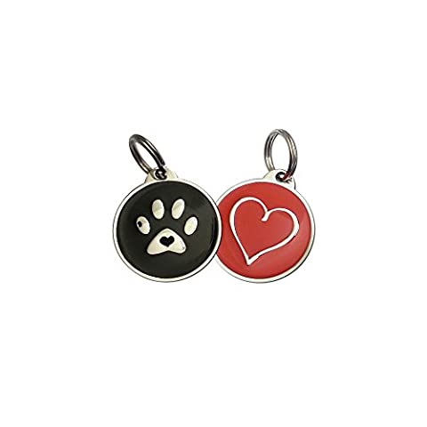 Value Pack Pet ID Tags w/ QR Code   URL Link for Mobile / Web w/ Last Scanned GPS Location (Black Paw Red - Platinum Mobile Square