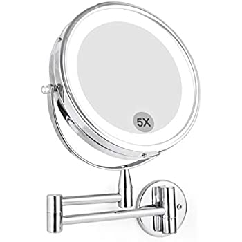 Amazon Com Wall Mounted Led Magnifying Mirror 5x Makeup