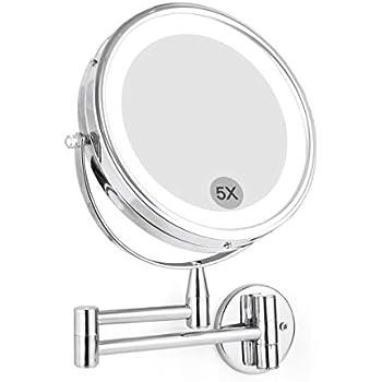 Amazon Com Wall Mounted Led Magnifying Mirror 5x Makeup