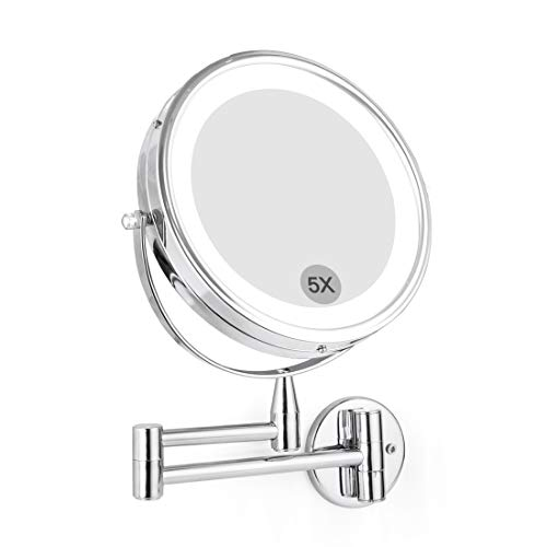 Wall Mounted LED Magnifying Mirror 5X Makeup 8 Lighted Double Side 360 Degree Vanity Magnification Swivel Extendable Mirror