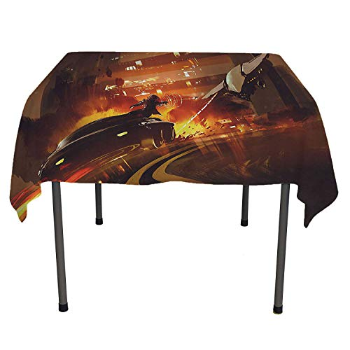 Modern Decor Tablecloth Clear Protector Outer Space Chase Scene of a Shuttle Aeroplane and a Car Fire on Road Artwork Multicolor Easter twble Cloth Spring/Summer/Party/Picnic 52 by 70