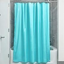 InterDesign Poly SC/Liner Cortina de baño de tela, Cortina impermeable con dobladillo reforzado, Cortina de ducha lavable a máquina, 183,0 cm x 183,0 cm, Poliéster aguamarina