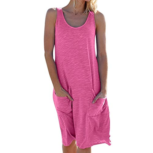 Nihewoo Womens Dresses Beach Summer Dresses Solid Sleeveless Dress Holiday T Shirt Dress Swing Party Dresses with Pockets Hot Pink ()