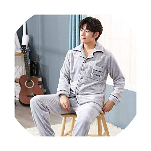 Men's Pajamas Warm Flannel Pajamas Men Thicken Sleepwear Sets Father Pajamas Nightwear,XXXX-Large,56