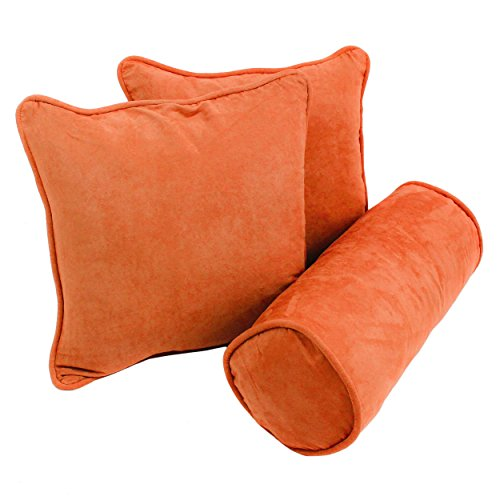 Blazing Needles 9815-S3-CD-MS-TD Double-Corded Solid Microsuede Throw Pillows with Inserts (Set of 3), Tangerine Dream ()