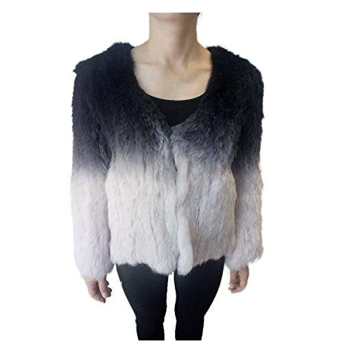 Lovingbeauty Black Purple Gradient Color Knitted Rabbit Fur Cardigan Jacket (Rabbit Fur Crop)