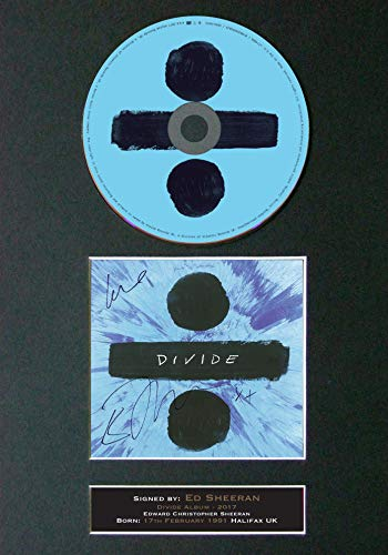 #75 CD ED Sheeran Divide Signed Autograph CD & Cover Reproduction Print A4 Rare Perfect Birthday (297 x 210mm) (Not Framed)