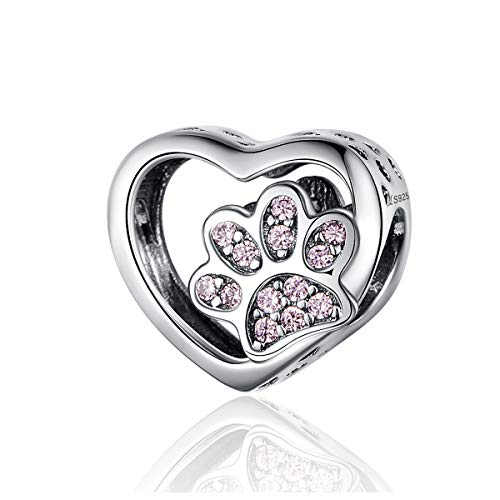 BAMOER Love Heart Dog Paw Footprints Bead Charm 925 Sterling Silver Heart Charms for DIY Snake Chain Bracelet Women